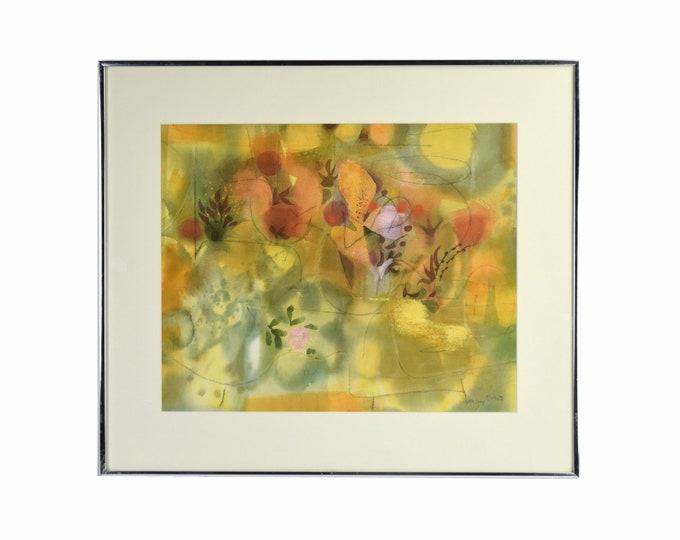 """Mid-Century Modern Rainey Bennett """"Rock Garden"""" Abstract Watercolor Painting"""