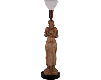 Vintage Large WPA Style Table Lamp Nude Woman with Harvest