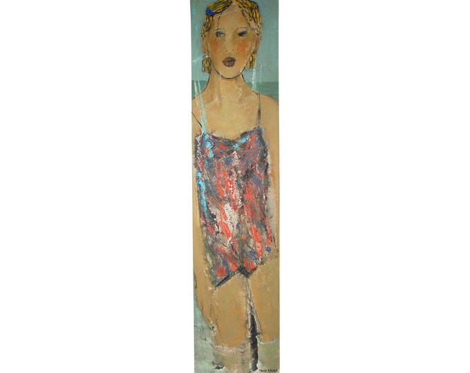 """Portait """"a la mer"""" Painting Blonde Girl at the Sea by Paule Lagace Quebecois Artist"""