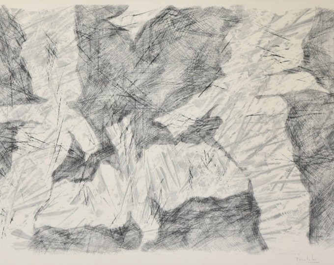 Vintage Mid-Century Modern Abstract B/W Lithograph Pierre Zucchelli