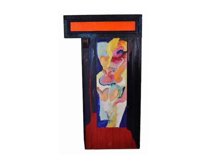 "Onno Hooymeijer ""Orange Upper Light"" Sculptural Abstract Painting"