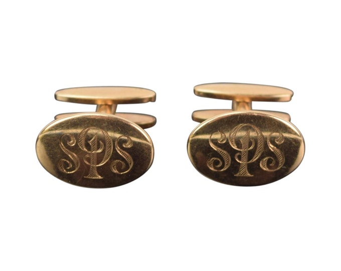 Vintage 1950's Pair 10K Yellow Gold Cuff Links Cufflinks Monogrammed SPS