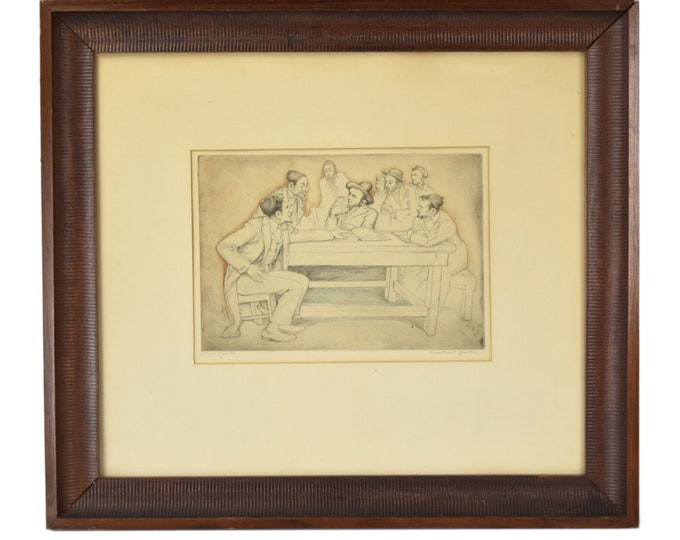 "Saul Raskin ""Impertinent Question"" Hand Tinted Etching Pencil Signed Judaica"