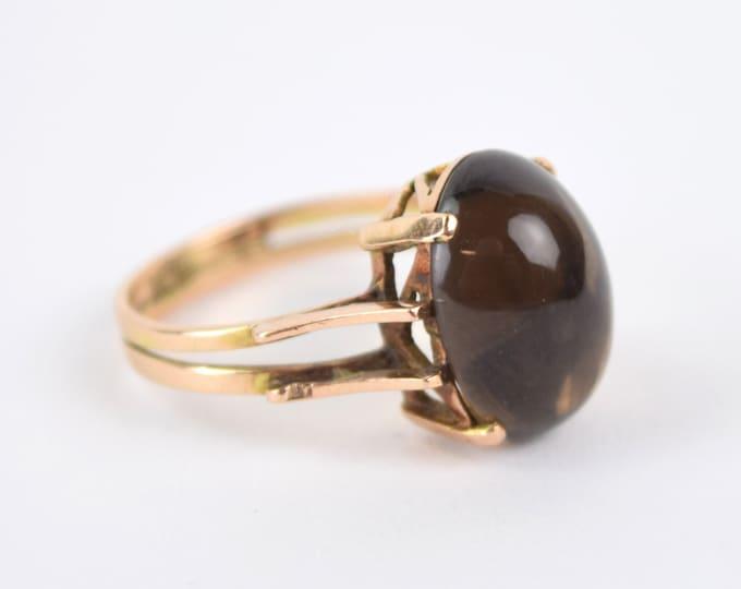 Estate Vintage Mid-Century Egyptian 12k Gold Ring w Smokey Topaz Cabochon