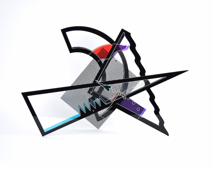Vintage 1980's Abstract Geometric Clear Black and Colored Lucite Sculpture