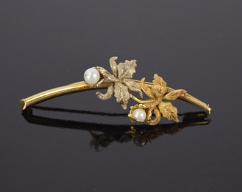 Estate Vintage 18k White and Yellow Gold Lily Flower Brooch Pin w Pearls