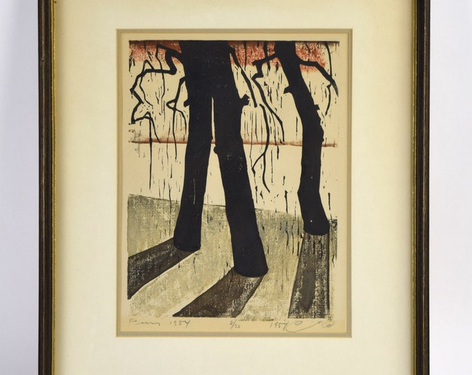 1954 Mid-Century Modern Japanese? Woodblock Print Long Shadow Trees signed #'d