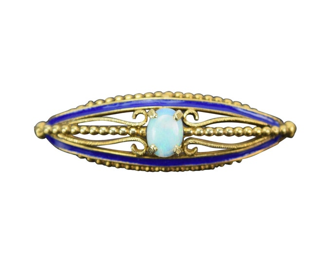 Vintage 14k Solid Gold Enameled Pin Brooch with Precious Fire Opal Cabochon