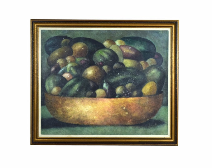 Lge Vintage Abstract Soft Focus Still Life Painting Bowl Fruit Sgd Chapman 1985
