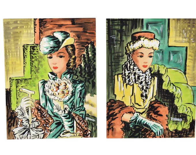 Pair 1940's Watercolor Paintings Fashionable Woman in Vintage Clothing signed Renauld