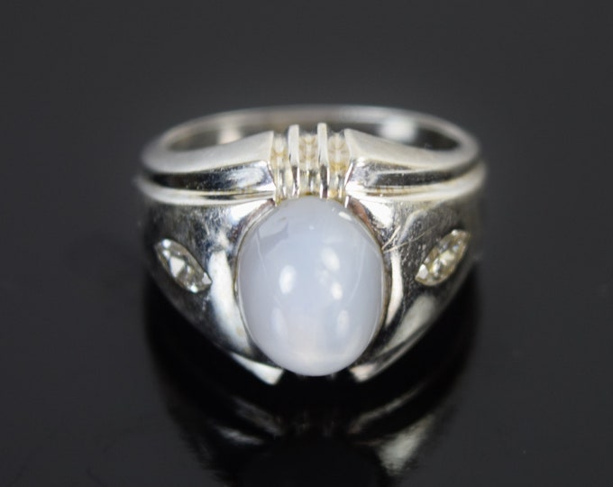 Vintage White Star Sapphire w Marquis Diamonds 14k Solid White Gold Pinky Ring