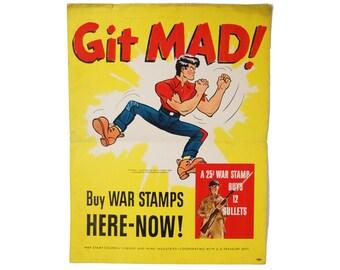 """Original Vintage Lil Abner """"Git Mad!"""" World War 2 Stamps Poster"""