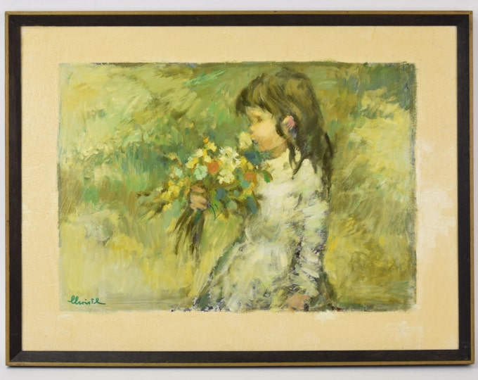 """1970's Impressionist Oil Painting """"May"""" Little Girl Smelling Wildflowers signed"""