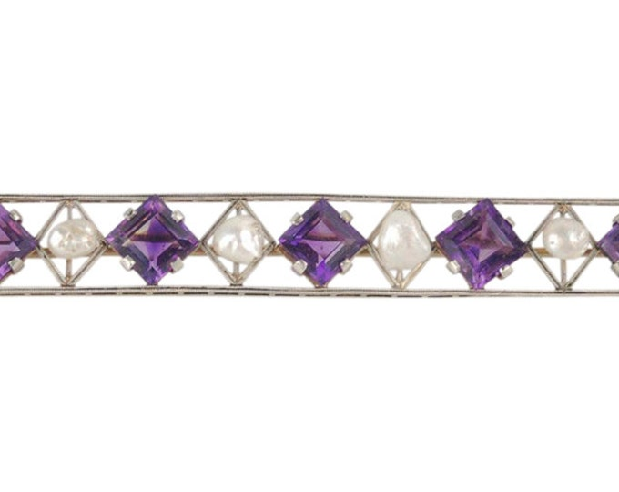 Estate Vintage Art Deco 14k White Gold Amethyst Freshwater Pearl Bar Pin Brooch
