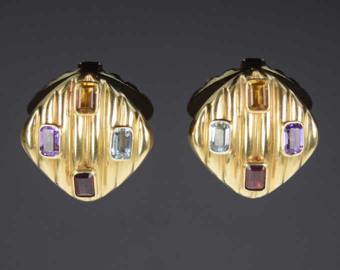 1980's Pair 14k Solid Gold Earrings Fun Confetti Multicolor Baguette Cut Gemstones