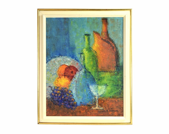 Vintage Mid Century Modern Abstract Oil Painting Still Life w Bottles signed Stackler