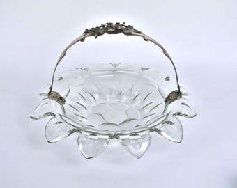 Antique 1845 Dutch Cut Crystal Wedding Basket Bowl Silver Handle w Raised Floral Decoration