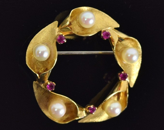 Vintage Estate 18k Solid Gold Leaf Pin Brooch with Pearl and Rubies