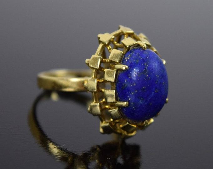 Vintage Estate 14k Solid Gold Geometric Block Design w Lapis Lazuli Ring