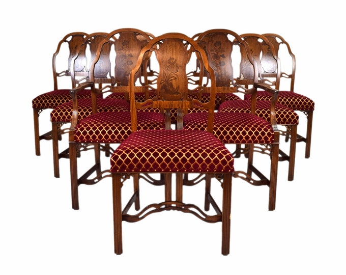 Set 10 Robert Irwin Co. Mahogany Marquetry Art Nouveau Art Moderne Transitional Dining Chairs