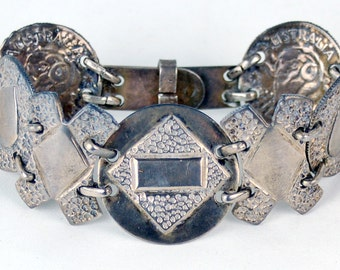 1944 WWII Silver Coin Trench Art Sweetheart Bracelet Ready for Engraving