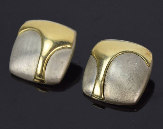 Vintage Pair 1980's Modernist Earrings Brushed Sterling Silver with Bas-Relief 14k Gold Shapes