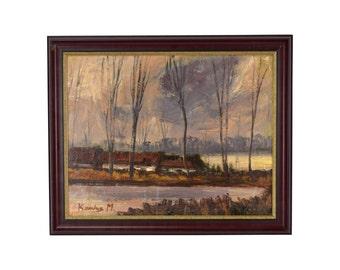 Vintage Landscape Oil Painting Autumn Lake Scene w Cottages sgnd Kamlos