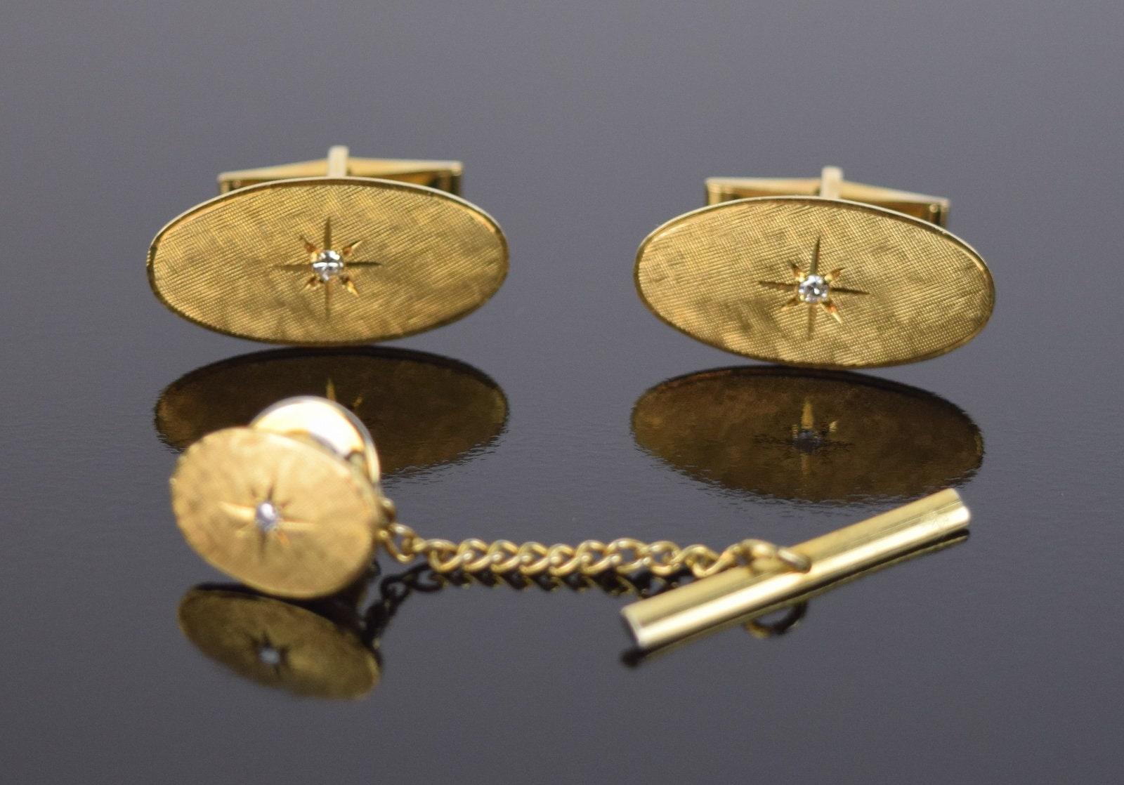 Vintage Oval Gold Starburst Tie Tack 1960s 14KT Gold Starburst Tie Tack Mid Century Gold Starburst Tie Tack Vintage Gold Oval Tie Tack