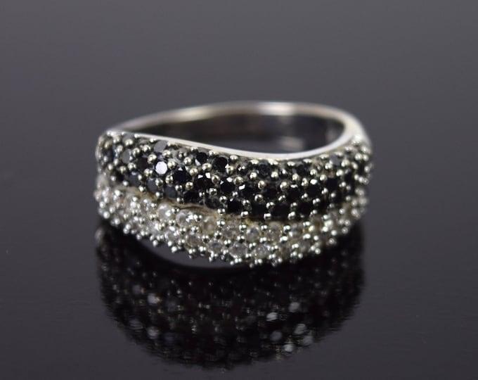 Vintage Estate Black & White Diamond Pave 14k White Gold Ring