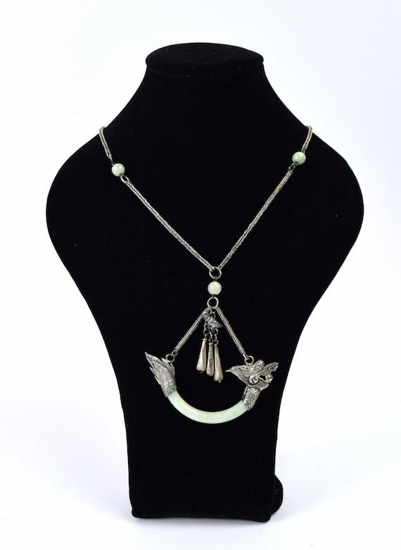 Antique Estate Chinese Silver Dragon Jade Pendant