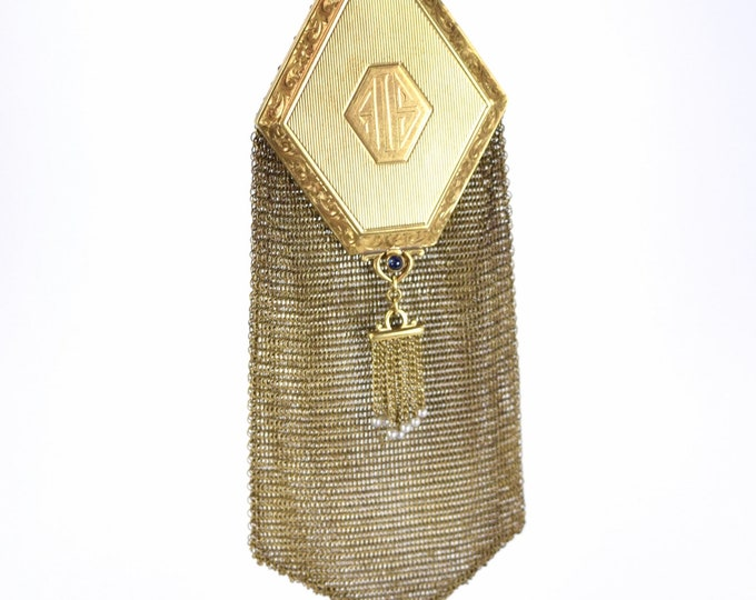 14k Solid Gold 1920's Art Deco Mesh Compact Purse w Sapphires Seed Pearls