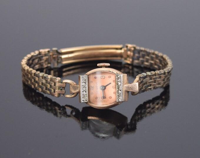 Vintage Geneve Ladies 14kt Rose Gold Diamonds Cocktail Wristwatch Watch