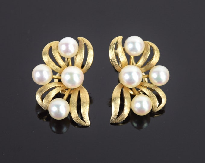 Vintage Estate 14k Yellow Gold Floral Form Clip On Earrings w Pearls
