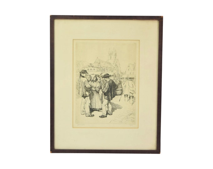 1908 Etching Peasants in Traditional Clothing at Farmer's Market Quimper France