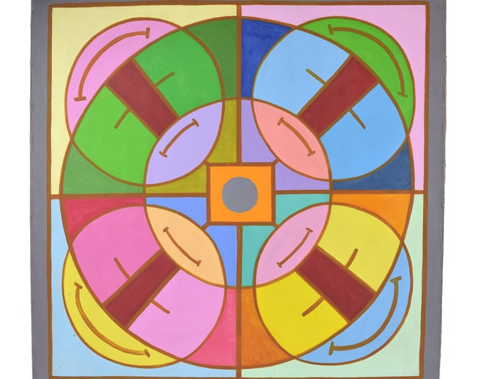 """1960's Mid-Century Modern Abstract Painting """"Abstract Mandala I"""" Dick Fort Chicago"""