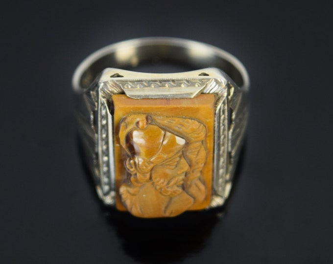 Vintage 1930's 14k White Gold Carved Tiger Eye Double Roman Soldier Cameo Ring