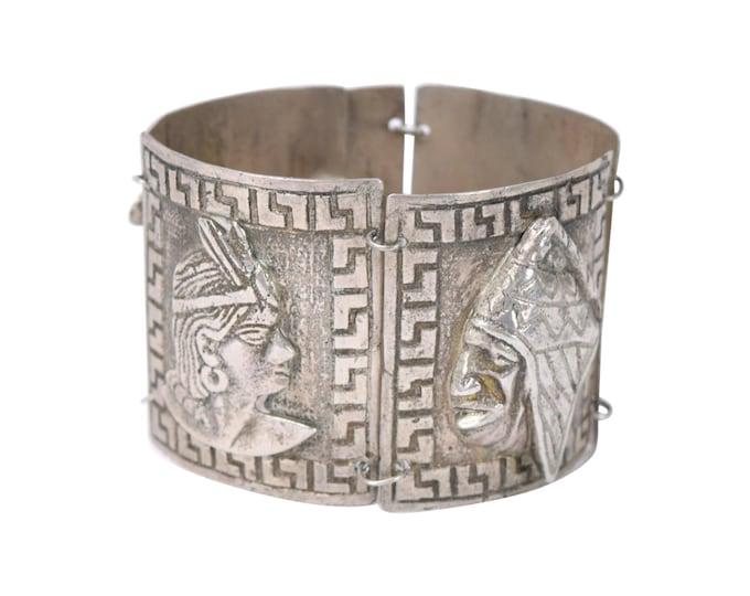 Vintage Peruvian Heavy .900 Silver Bracelet with Inca Princess Imagery