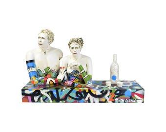 "Nancy Kubale Pottery Mixed Media Graffiti Sculpture ""IN PROVOCO"""