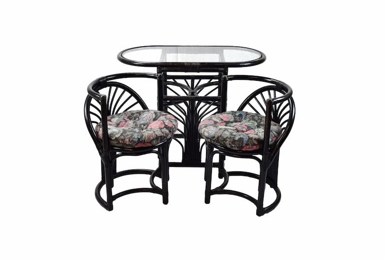 Superb Vintage Art Deco Style Compact Diminutive Rattan Table 2 Chairs Beutiful Home Inspiration Aditmahrainfo