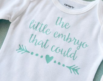 the little embryo that could ® in Mint- IVF baby- newborn outfit- going home outfit- miracle baby- baby shower gift- IVF success- in vitro