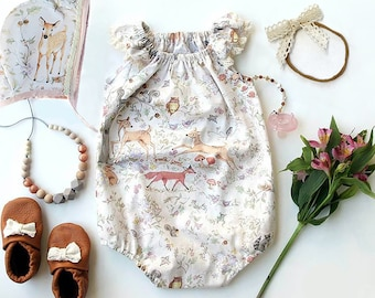 woodland baby girl romper, bubble romper, baby shower gift, baby girl clothes, newborn baby romper, fox baby clothes, boho romper