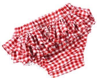 gingham ruffle bloomers, baby girl bloomers, ruffle bloomers, red bloomers, red checks diaper cover