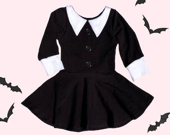 Halloween costume, Gothic costume, Wednesday dress, black dress white collar, girls halloween costume, baby girl halloween costume