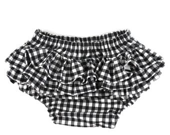 gingham ruffle bloomers, baby girl bloomers, ruffle bloomers, black bloomers, black checks diaper cover