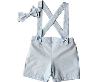 light blue baby suspender shorts- ring bearer outfit, shorts overalls-  boys suit- suspenders shorts- baby wedding outfit- shortalls