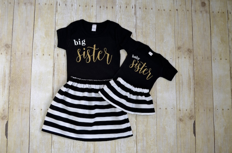 1eba7d928a341 Big sister- baby sister outfit set- Matching sister outfit- sibling shirts-  baby announcement shirt- brother outfit- sisters outfits-