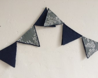 Rustic lace bunting, lace wedding bunting, navy wedding bunting, rustic  bunting, wedding decor, garden party decoration, party bunting