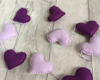 Heart garland kit, felt heart garland, nursery garland, home decor, craft gift, house warming gift, new baby gift, new home gift, kids craft