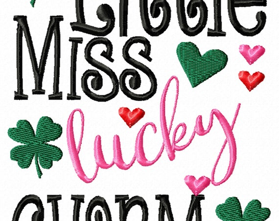 Little Miss Lucky Charm- A Cute Machine Embroidery Download File For the Little Miss- Includes 3 sizes