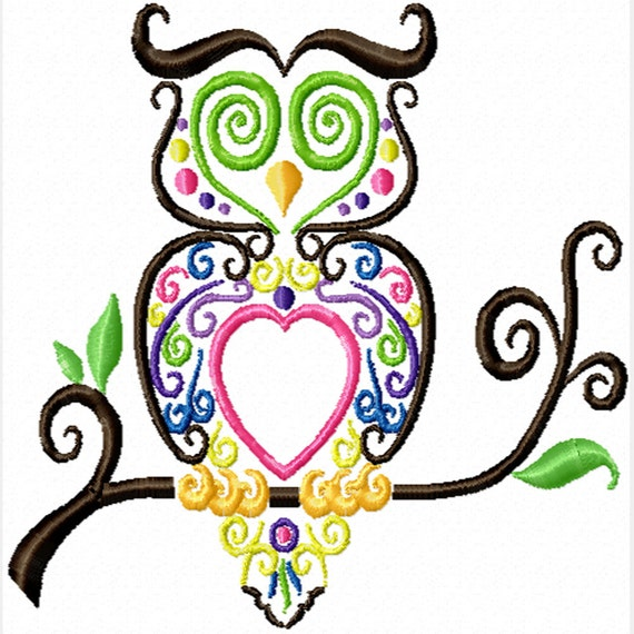 Colorful Owl -A Machine Embroidery Design